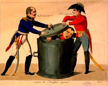 ORIGINS OF THE IMPERIAL SNUFFER, a caricature by Lecroix: Blucher and Wellington throw Napoleon into the dust bin of history.  In the Napoleonmuseum in Arenenberg.